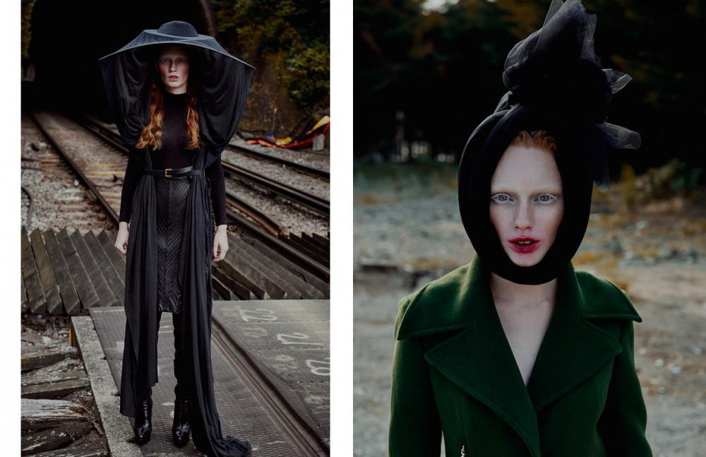 Hat / The season Top / Sophia French Skirt / Marko Mitanovski Boots / Kim Kwang Opposite Coat / Yuzzo London Headpiece / Stylists own