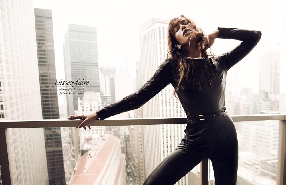 Leather Jumpsuit & belt / Elie Saab All Jewelry / Stazia Loren