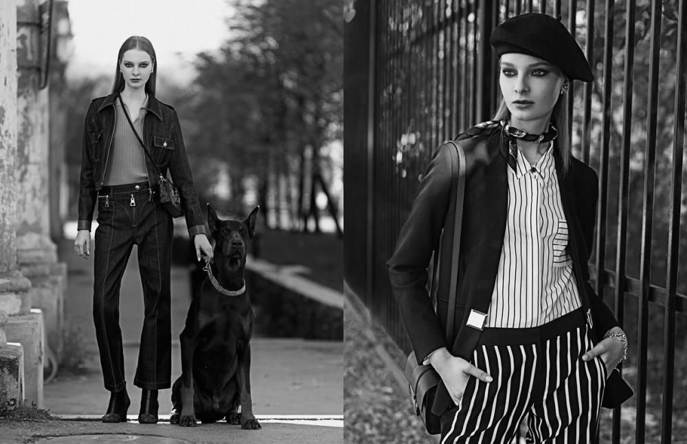Jacket, shirt, trousers, shoes & bag / Louis Vuitton Opposite Bag, jacket & bracelet / Versace Jacket, trousers & headscarf / DKNY Dior earrings / Dior Beret / Tonak
