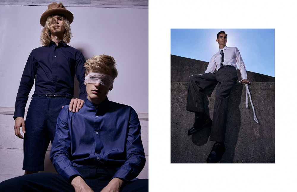 Dylan @Elite London wears Shirt / Matthew Miller Pants / Tunde Kiss Hat / Bernstock Speirs Belt / Vintage Davey @Elite London wears Shirt / Tunde Kiss Pants / The Kooples Sport Opposite Milo @Elite London wears Shirt / Izzue Pants / E. Tautz Shoes / Wooyoungmi Belt / Stylist Own