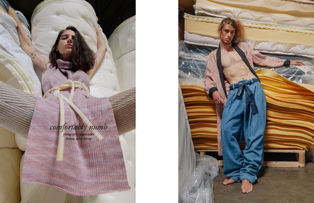 Throughout / Orlane Paris Skincare & Smash Box Cosmetics Ilana Kozlov @nextmodels Wears Wool Silk Knit Poncho & Knit Bellbottoms / Maria Dora Opposite Daniel Hivner @nextmodels Wears Dad Jeans / 69 Vintge Robe / Makers Of Belief