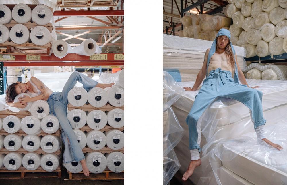Ilana Kozlov @nextmodels Wears Bikini Top /Alice Mccall Vintage Jeans / Makers Of Belief Opposite Daniel Hivner @nextmodels Wears Hat & Denim Apron / 69 Long Johns / American Apparel
