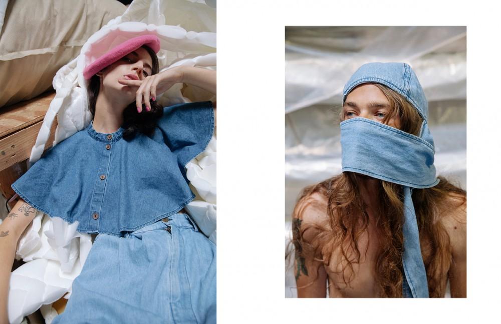 Ilana Kozlov @nextmodels Wears Denim Cape & Skirt / 69 Beret Vintage / Makers Of Belief Opposite Daniel Hivner @nextmodels Wears Denim Hat / 69