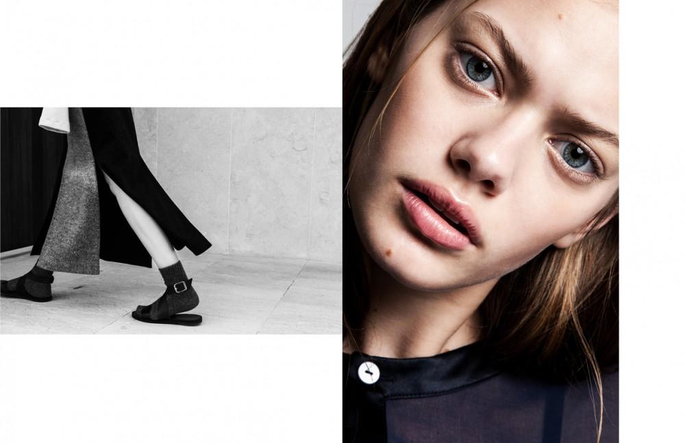 Woolen Skirt / Ricostru Sweater / Studio Pretzel Leather Sandals / ZARA Woolen Socks / Calzedonia Opposite Dress / CO|TE