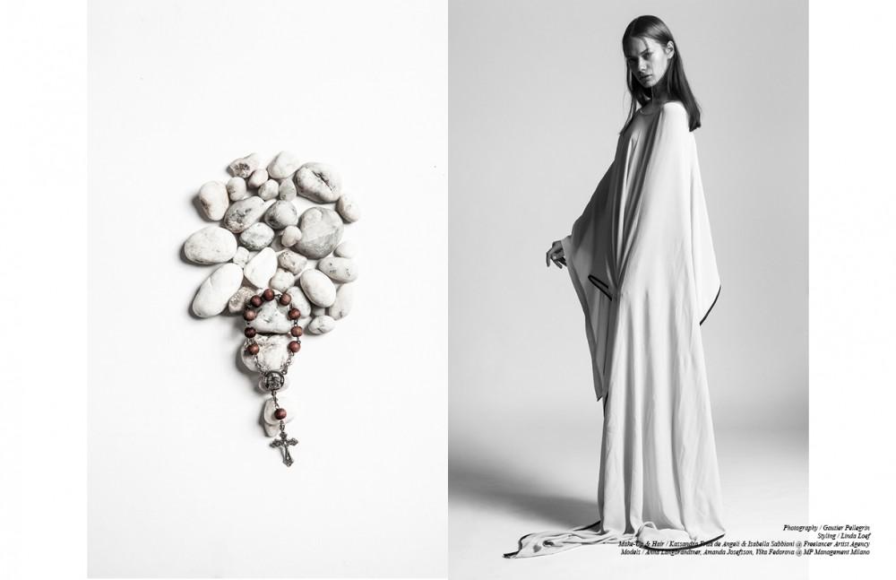 Long Silk Dress With Leather Detail / Nicholas K