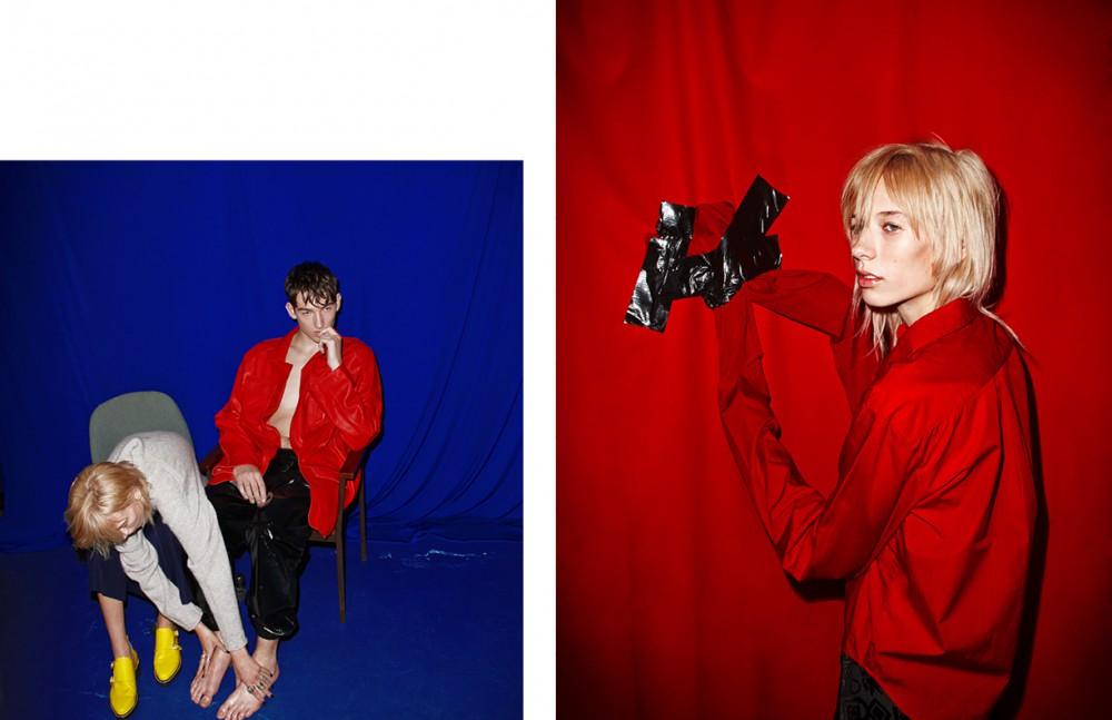 Niamh wears Jumper / Acne Studios Trousers / McQ Alexander McQueen Shoes / Rag & Bone Callum wears Coat / Agi & Sam Trousers / Astrid Andersen Opposite Shirt / MM6 Maison Margiela Skirt / Kenzo