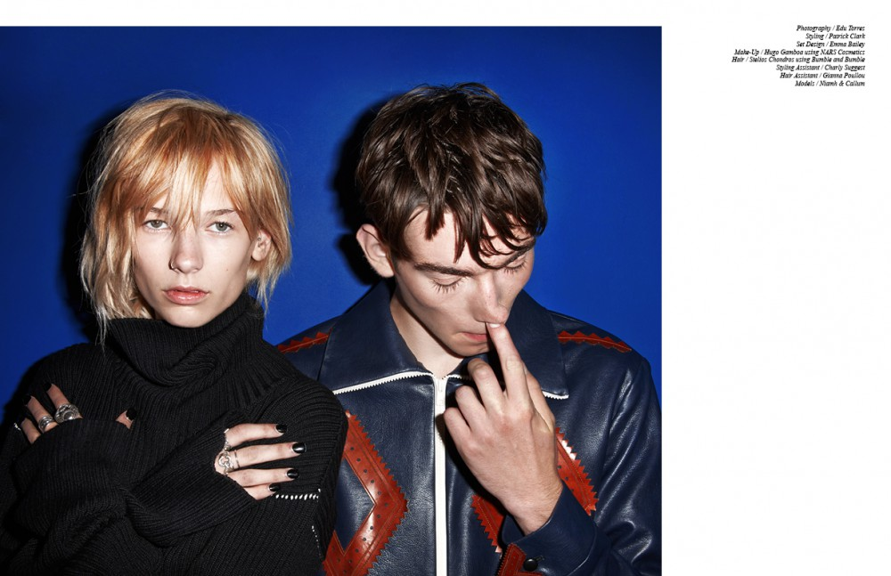 Niamh wears Jumper / MM6 Maison Margiela Rings / Niamh's Own Callum wears Coat / Xander Zhou