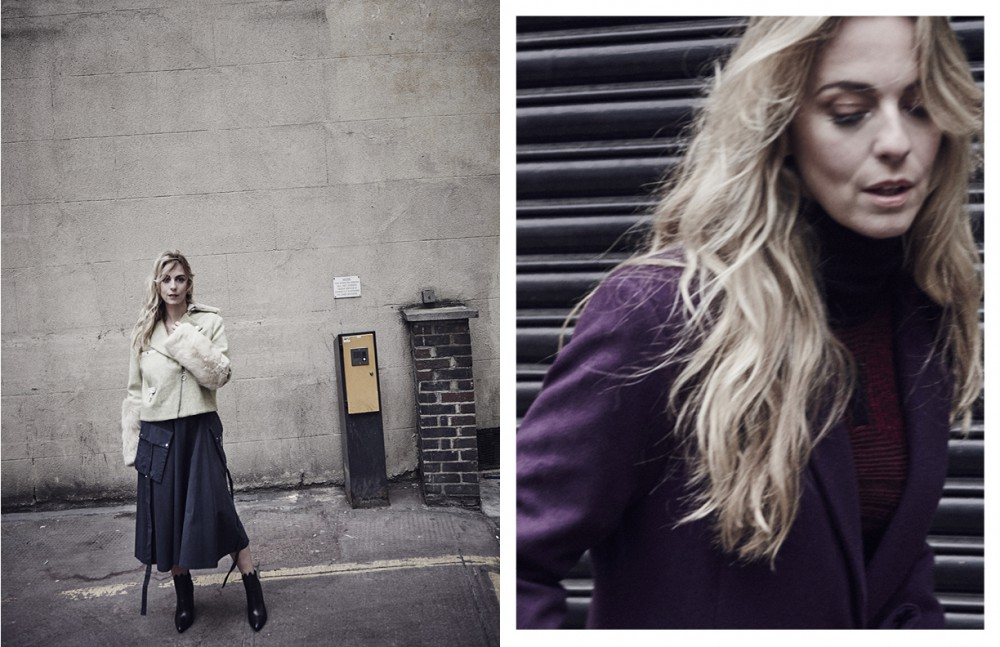 Dress, Biker Jacket & Boots / Ming Studio Opposite Wool Coat and Knit Top / Malene Oddershede Bach