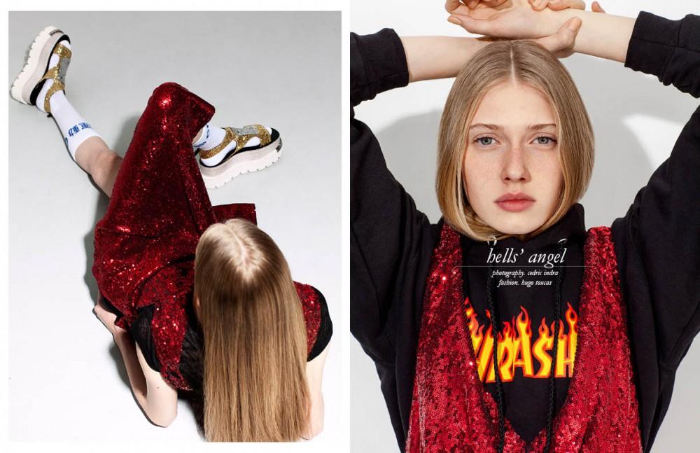 Dress / MM6 Maison Margiela Sandals / MM6 Maison Margiela Socks / Gosha Ruchinsky Opposite Dress / MM6 Maison Margiela Sweatshirt / Thrasher
