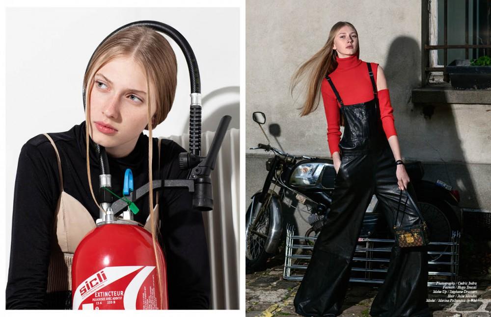 Turtleneck Sweater / Y-3 Bra / Ainur Turisbek Opposite Cut Pullover / Gucci Overalls / Ainur Turisbek Bag / Louis Vuitton