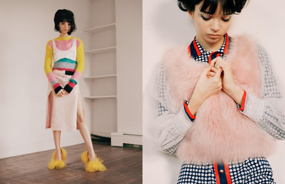 Jumper / MadeMe Crop Bra & Dress (Under) / Sandy Liang Shoes / David Ferreira Opposite Dress / Marni Pink Jumper / Sandy Liang Sheer Overlay / JW Anderson