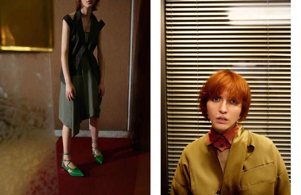 Top, skirt & vest coat / Antonio Marras Shoes / Salvatore Ferragamo Opposite Full look / Vivienne Westwood Red Label