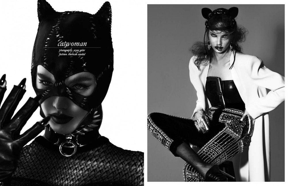 Dress / Zeynep Tosun Mask / stylist's own Choker / Givenchy Gloves / Elif Domaniç Bracelet / Givenchy Opposite Jacket / Givenchy Bra / Moschino Trousers / Balmain Cat ears / Fleet Ilya Nose ring / Givenchy Earrings / Givenchy Shoes / Tom Ford