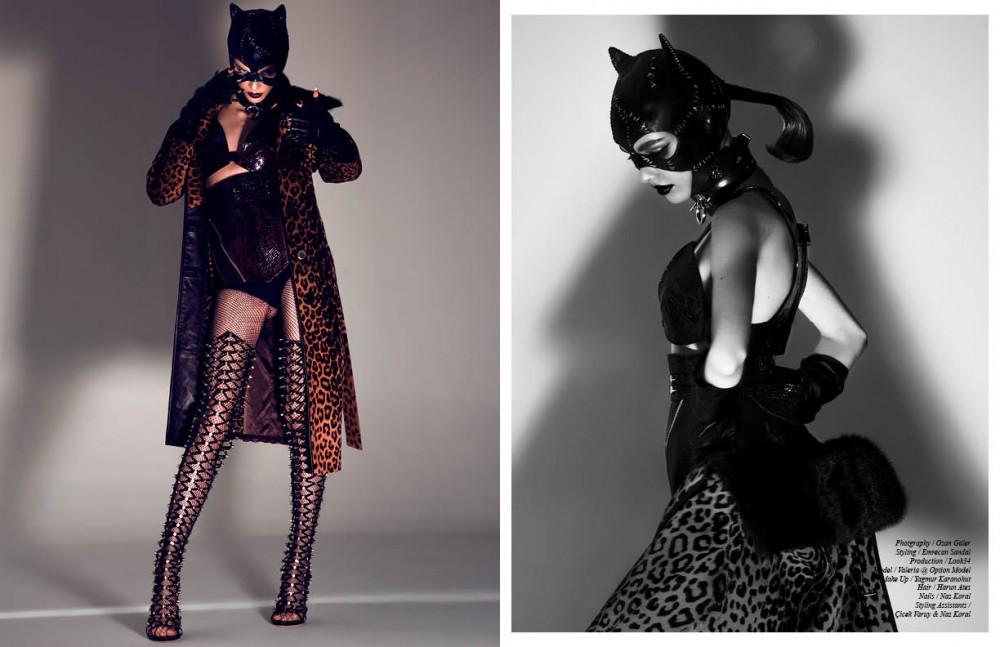 Top & bottom / Elif Domaniç Coat / Saint Laurent Mask / stylist's own Choker / Givenchy Gloves / Elif Domaniç Boots / Dsquared2 Opposite Top & bottoms / Elif Domanic Coat / Saint Laurent Mask / Stylist Own Choker / Givenchy Gloves / Elif Domaniç