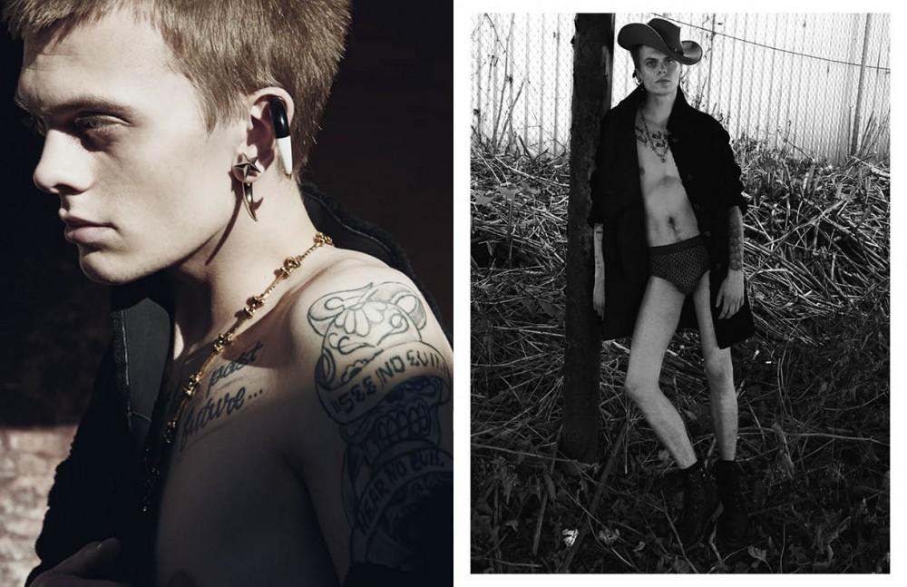 Earring / Givenchy Necklace / Alexander McQueen Coat / John Varvatos Coat and boots / John Varvatos Opposite Earring / Givenchy Necklace / Alexander McQueen Underwear / Calvin Klein