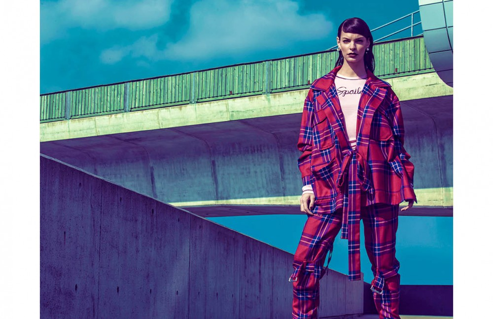 Tartan jacket & trousers / Vivienne Westwood Pink top / Adam Selman Boots / Caterpillar
