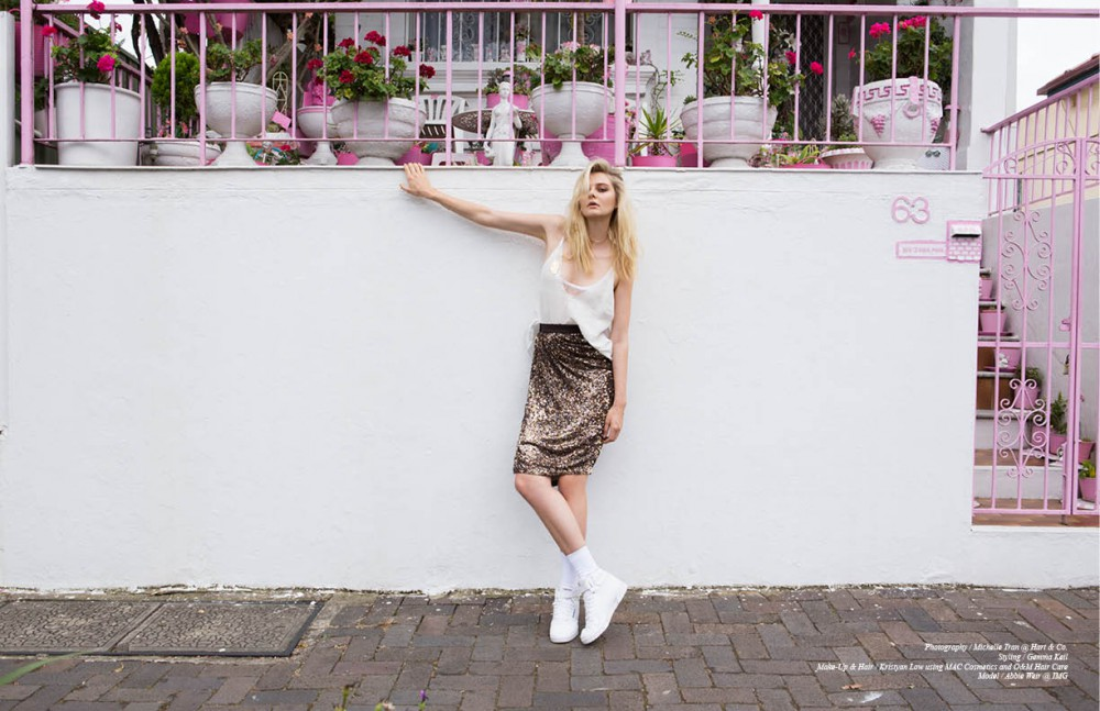 Top / Caslazur Skirt / Reem Acra Shoes / Reebok Socks / American Apparel Bra / Christie Nicole Brooch / Kate Sylvester Necklace, earrings & bracelet / Sarah and Sebastian