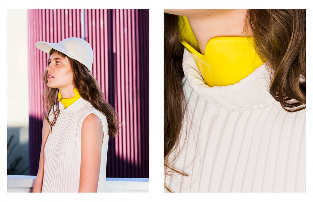 Pleated dress & yellow necklace / Veronique Leroy Wollen cap / A.Knackfuss