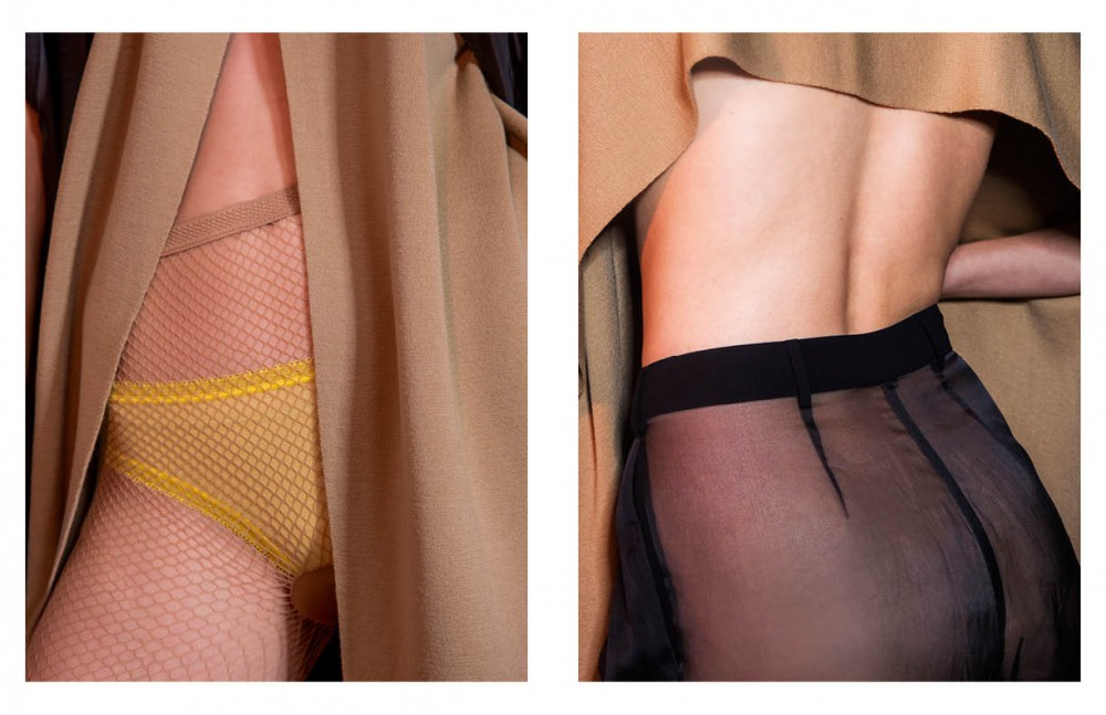 Beige cape / COS Briefs / La Perla Tights / H&M Opposite Transparent trousers / La Perla Beige cape / COS