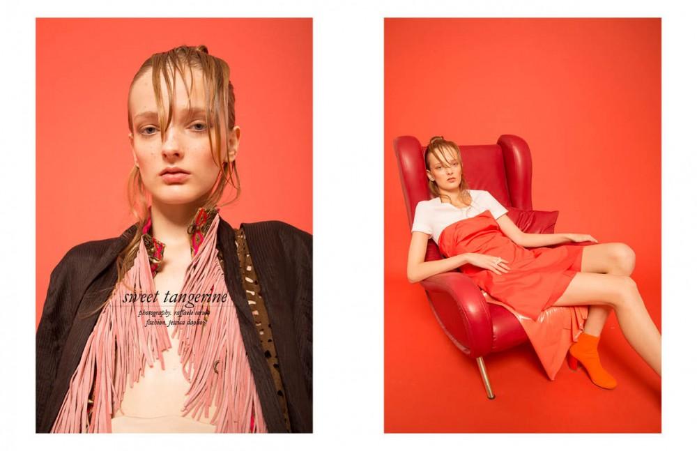 Sleeveless jacket / Tvscia Jacket with pink fringe / Dassios Opposite White t-shirt / 1981 Coral shirt / Miahatami Skirt / Marrianna Cimini White glass ring / Garbo Ankle boots / Marios