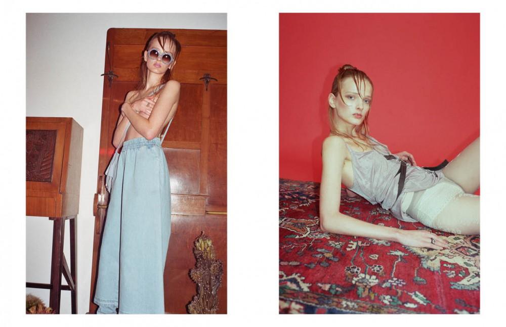 Sunglasses / Michel Henau Suede bag / Borgenni Denim trousers / Marios Opposite Short dress / F.U.M Necklace / Tvscia Belt / F.U.M Rings / Voodoo Jewels Lace panties / 25th Hours Embroidered tights / Sara Borghi