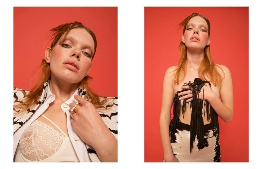 Jacket / Neil Barrett White shirt / Miahatami Lace bra / 25Th Hours Earring / Co.Ro. Jewels Ring / Arte Facta Opposite Skirt / Otto D'ame