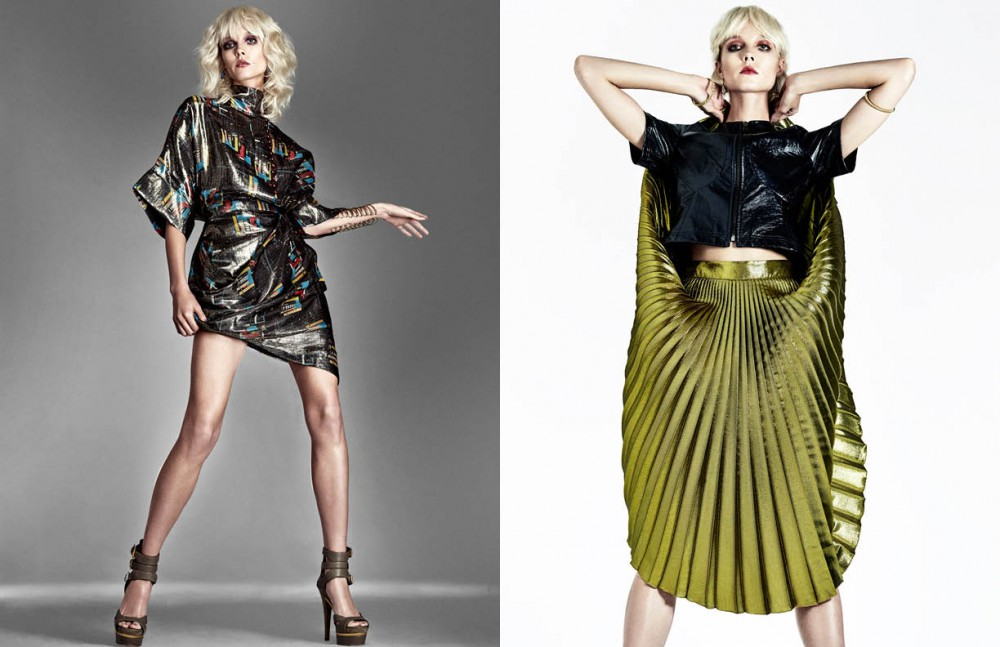 Dress / J.W. Anderson Gold Cuff / Gurhan Shoes / Gucci Opposite Top / Cedric Charlier Skirt / Gucci Earrings / Sucre NYC Bracelets / Fay Andrada