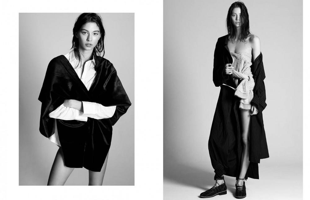 Shirt / Rae Feather Trousers (worn as scarf) / Yuzzo Opposite Coat & shoes / Ziqing Zhou Jumper / Renli Su