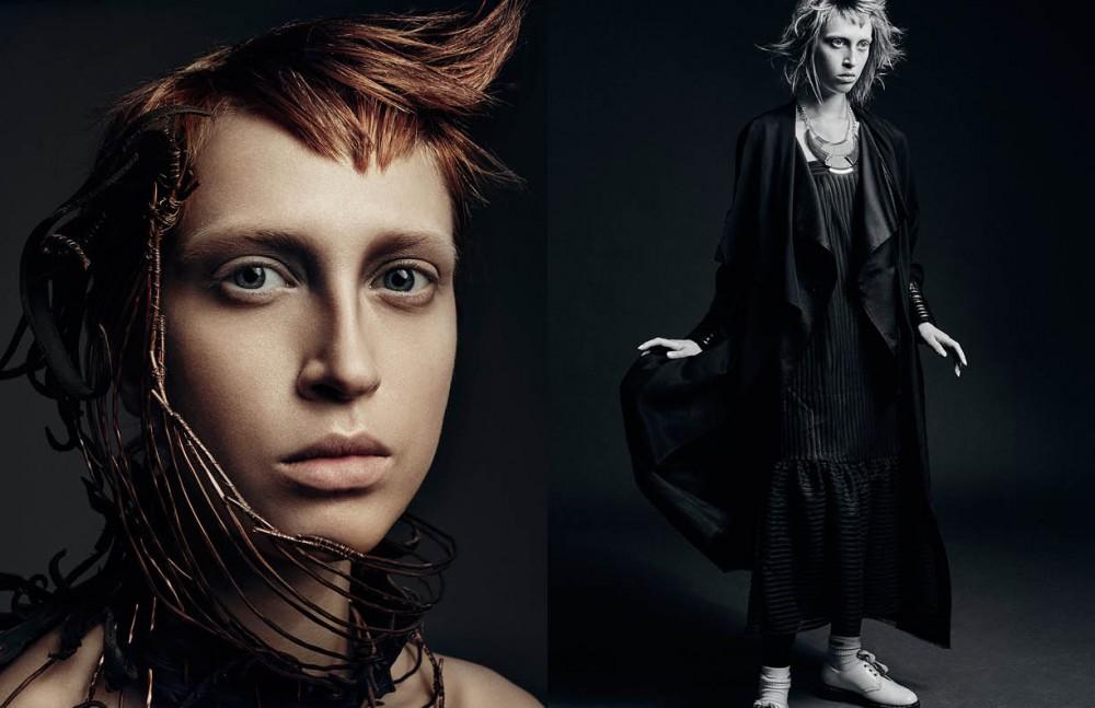 Art pieces / Dana Mikelson Opposite Coat / Augustin Teboul Skirt (worn as dress) / H&M Studio Necklace / Stylist's own Shoes / Doc Martens