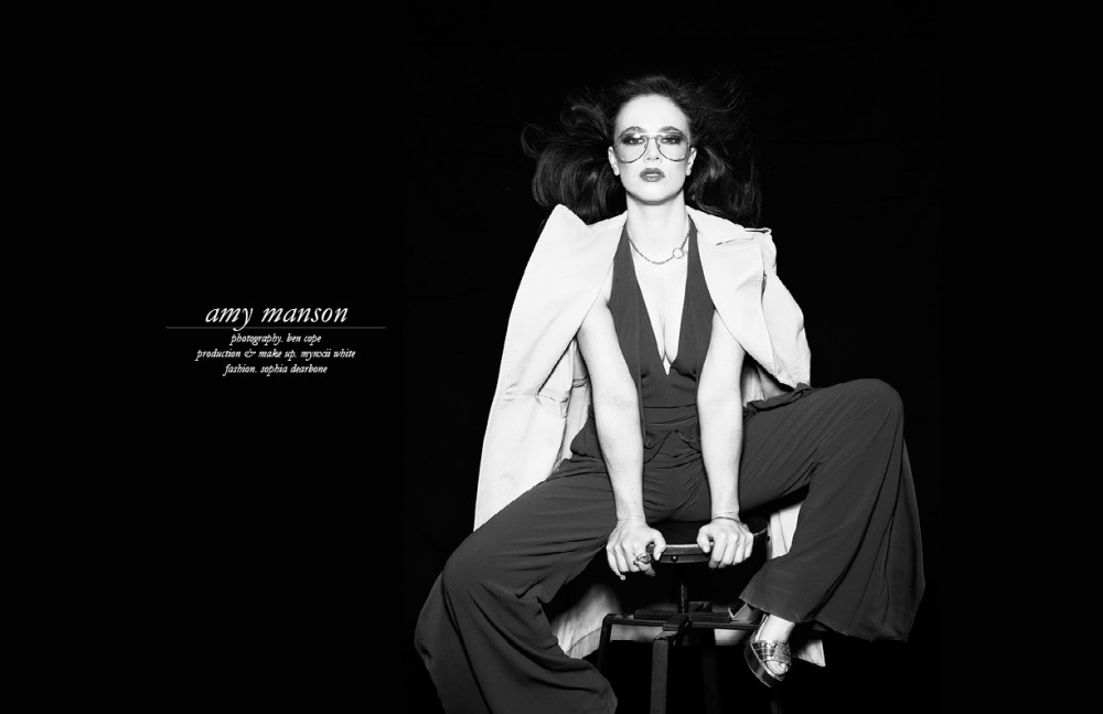 Coat & Jumpsuit / Halston      Necklace & bracelet / Martine Ali     Ring / Faris     Shoes / Bionda Costana     Glasses throughout / Stylist's own